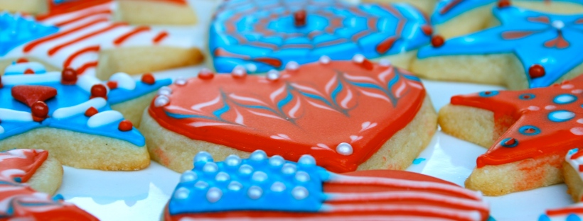 Patriotic 4th of July red white and blue sugar cookies