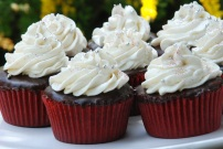 Oreo red velvet cupcakes with chocolate ganache and cream cheese frosting