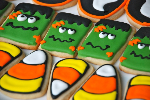 Halloween Cookies, frankenstein's monster. Cute halloween sugar cookies with ghosts and candy corn. candy corn coookies
