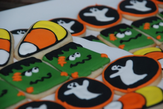 Halloween sugar cookie set assortment with candy corn, frankenstein, and ghosts
