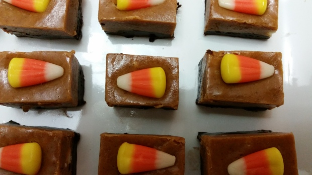Halloween fudge--pumpkin and chocolate with candy corn topping!