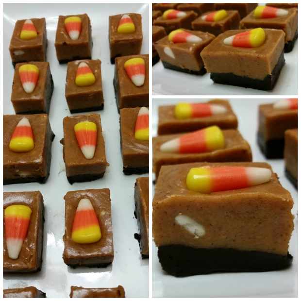 Layered fudge with chocolate and pumpkin spice and candy corn topping.