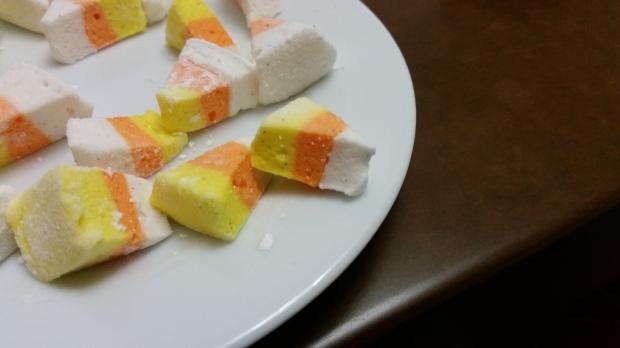 Unique Halloween Dessert- - homemade candy corn marshmallows