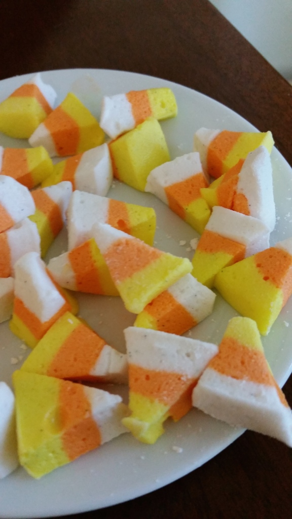 Step-by-step, DIY, tutorial for homemmade candy corn marshmallows