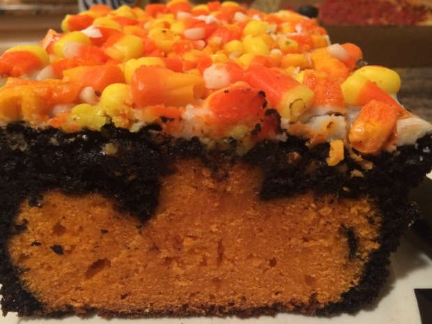 Candy Corn Halloween Pumpkin Cake